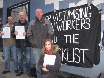 Manchester library construction site, protest against blacklisting, Feb 2012, photo by Hugh Caffrey