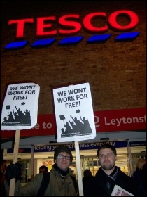 Protesting against slave labour schemes outside Tesco in Leytonstone, London, Feb 2012, photo Suzanne Beishon