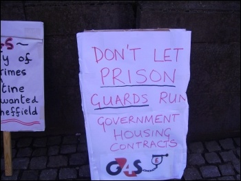 SYMAAG rally in Sheffield against G4S taking over asylum seeker housing, 1.3.12, photo Alistair Tice