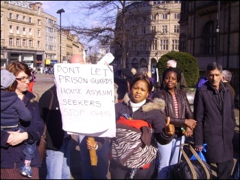 SYMAAG rally in Sheffield against G4S taking over asylum seeker housing, 1.3.12, photo by Alistair Tice