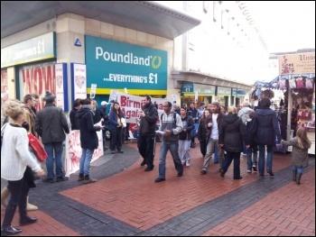 Birmingham anti-workfare protest on 3.3.12 , photo by Alex Walker