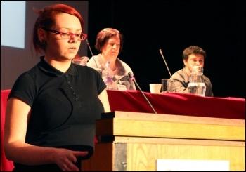 Becci Heagney addresses Socialist Party congress 2012, photo Senan