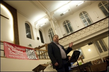 RMT president Alex Gordon speaking at the London election launch rally for TUSC on 21.3.12, photo by  Socialist Party
