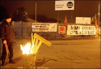 Picket line at MMP, Bootle, March 2012 , photo by Stillshooter
