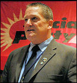 John Hancock speaking at Socialist Party congress 2008, photo Paul Mattsson