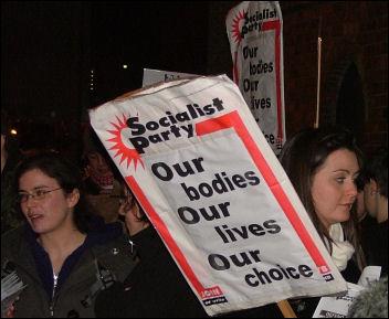 Pro choice protest against Ann Widdecombe, photo Dave Reid