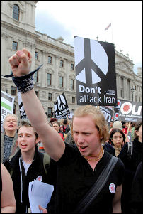 International Socialist Resistance on the 15 March 2008 anti-war demo, photo Paul Mattsson