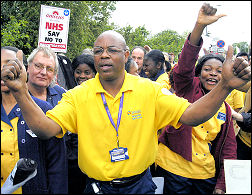 health workers demonstrate at Whipps Cross hospital in East London, photo Paul Mattsson