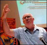 Peter Taaffe speaking on world events at Socialist Party congress 2008, photo Paul Mattsson
