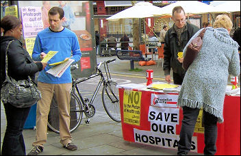 Lewisham Socialist Party campaigning against health cuts, photo Chris Newby