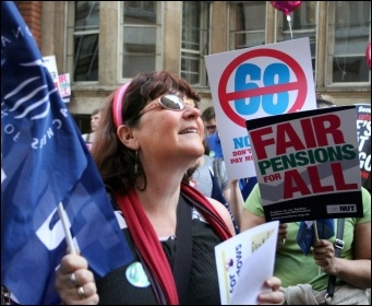 NUT and UCU strike action in London on 28 March 2012, photo Senan