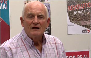 Tony Mulhearn, challenges for Liverpool Mayor, photo by  Socialist Party