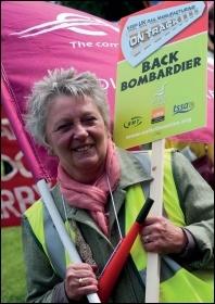 trade union  protest at the closure of train coach maker Bombardier, photo by Paul Mattsson