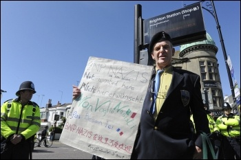 BNP Nazis not wanted here - war veteran protests, photo Paul Mattsson