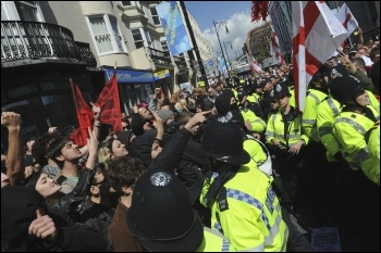 Mass protest counters racist EDL in Brighton, 22 April 2012, photo by Paul Mattsson
