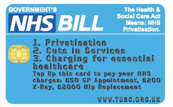 TUSC NHS 'credit card': The Health & Social Care Act Means: NHS Privatisation