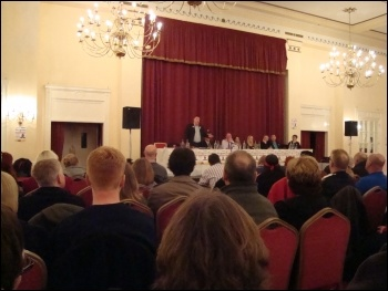 Alex Gordon speaking at the Liverpool TUSC rally, Adelphi Hotel, 26.4.12, photo Harry Smith