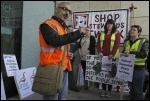 Onay Kasab speaking to Greenwich library workers on strike against privatisation, 27.4.12, photo Paul Mattsson