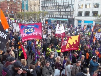 Marching through Leeds on 30 November N30 public sector strike , photo Iain Dalton