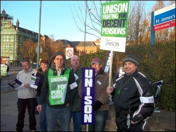 Unison members join the 30 November N30 public sector strike in Leeds, photo Iain Dalton