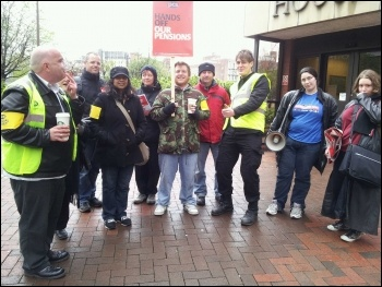 Leeds HMRC workers visited by Leeds Youth Fight for Jobs activists, photo by Iain Dalton