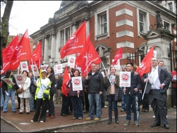 Unite Health demo at Manchester Royal Infirmary, during 10 May public sector strike, photo by Hugh Caffrey