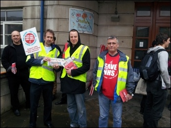 Members of newly formed Leeds teaching hospitals unite branch picketing outside Leeds General Infirmary, photo by Iain Dalton