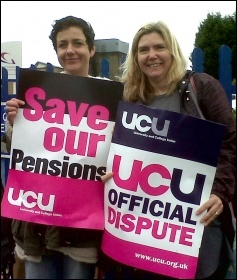 UCU strikers on a picket line in Swansea on 10 May 2012 public sector workers' strike, photo Socialist Party Wales