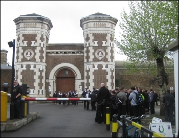 Prison officers in the POA walk out on unofficial strike on 10 May 2012 at Wormwood Scrubs, London , photo Keith Dickinson