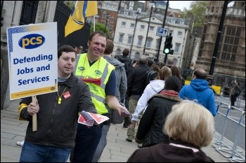 PCS members on strike 10 May 2012 outside Parliament, photo Paul Mattsson