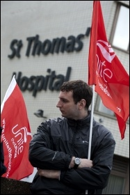 Unite members at St Thomas' Hospital on strike 10 May 2012 as part of the nationwide strike of workers in the public sector against attacks on pensions , photo Paul Mattsson