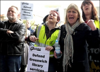 Greenwich library workers strike against privatisation, 27.4.12 , photo Paul Mattsson