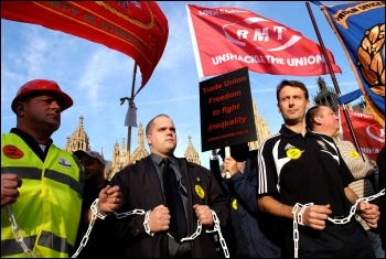 The RMT and POA call on parliament to unshackle the unions in 2010, photo Paul Mattsson