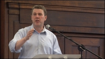 Mark Serwotka at NSSN conference, photo by  Socialist Party
