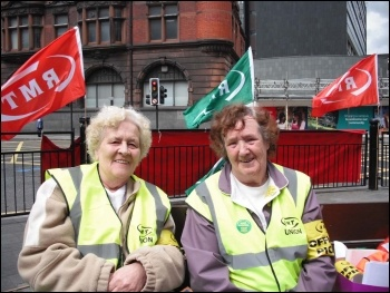 Striking Churchill cleaners on Tyne and Wear Metro, photo by Elaine Brunskill