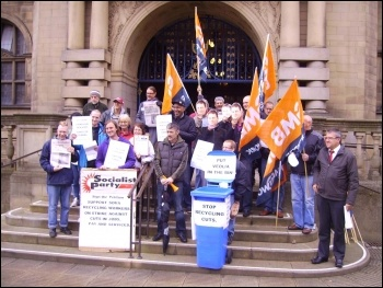 Sheffield recycling workers lobby council, 13th June 2012, photo by Alistair Tice