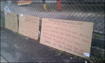 Placards on BFAWU picket line at RF Brookes bakery in South Wigston, Leicester, photo by Steve Score