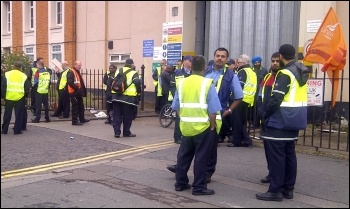 Drivers at the Longbridge Road bus garage in Barking out on the picket line, photo Hannah Sell