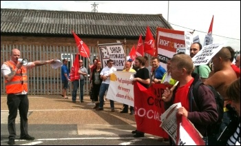 Croyton protest 25 June 2012: dozens of workers, their families and supporters protested against imminent job losses Coryton Oil Refinery, photo Ian Pattison