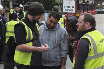 Hackney bus workers took part in the 22 June 2012 London-wide bus strike , photo Paul Mattsson