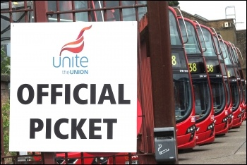 Hackney bus workers stopped the busses on the 22 June 2012 London-wide bus strike , photo by Paul Mattsson