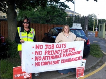 HMRC PCS members on the picket line n Shipley, Yorkshire , photo by Iain Dalton