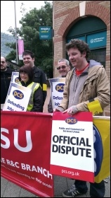 HMRC PCS members on the picket line in Leicester, photo by Leicester Socialist Party