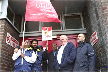 Leyton bus workers on the 22 June 2012 London-wide bus strike, photo by Paul Mattsson