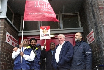 Leyton bus workers took part in the 22 June 2012 London-wide bus strike , photo by Paul Mattsson