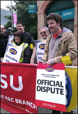 HMRC PCS members on the picket line in Leicester , photo by Leicester Socialist Party