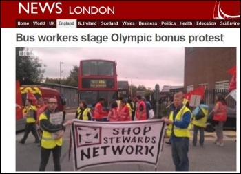 BBC website: Bus workers protest, photo BBC