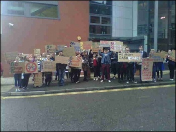 New College Nottingham students protesting, 5.7.12, photo by Becci Heagney