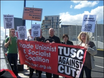 TUSC protesting about the lack of affordable housing at the Olympic Park during the GLA (London Assembly) elections 2012 , photo London Socialist Party