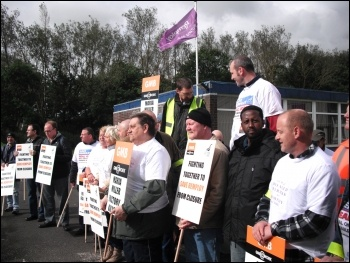 Newcastle and Gateshead Remploy workers on the national Remploy strike against closures 19 July 2012, photo by Elaine Brunskill